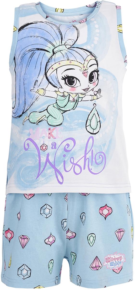 Пижама для девочки Button Blue, цвет: голубой. 118BBGL97021800. Размер 140118BBGL97021800Одежда для сна должна быть максимально комфортной и удобной, но и значение дизайна нельзя недооценивать! Чтобы девочке было не только уютно, но и приятно ложиться спать, ей можно недорого купить детскую пижаму с изображениями популярных персонажей. Модель украшают акварельные рисунки Шиммер и Шайн - близняшек-джиннов из одноименного мультсериала. Пижама спокойного цвета с милым принтом отличается высоким качеством и изготовлена из хлопка с эластаном. Комплект состоит из шортиков и майки без рукавов.