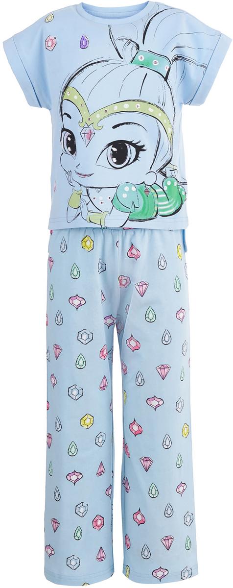 Пижама для девочки Button Blue Шиммер и Шайн, цвет: голубой. 118BBGL97011800. Размер 140118BBGL97011800Одежда для сна должна быть максимально комфортной и удобной, но и значение дизайна нельзя недооценивать! Чтобы девочке было не только уютно, но и приятно ложиться спать, подарите ей пижаму от Button Blue с изображениями популярных персонажей. Модель украшают акварельные рисунки Шиммер и Шайн - близняшек-джиннов из одноименного мультсериала. Пижама, состоящая из футболки и брюк, изготовлена из хлопка с эластаном и отличается высоким качеством.
