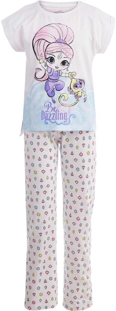 Пижама для девочки Button Blue Шиммер и Шайн, цвет: белый. 118BBGL97010000. Размер 116118BBGL97010000Одежда для сна должна быть максимально комфортной и удобной, но и значение дизайна нельзя недооценивать! Чтобы девочке было не только уютно, но и приятно ложиться спать, подарите ей пижаму от Button Blue с изображениями популярных персонажей. Модель украшают акварельные рисунки Шиммер и Шайн - близняшек-джиннов из одноименного мультсериала. Пижама, состоящая из футболки и брюк, изготовлена из хлопка с эластаном и отличается высоким качеством.