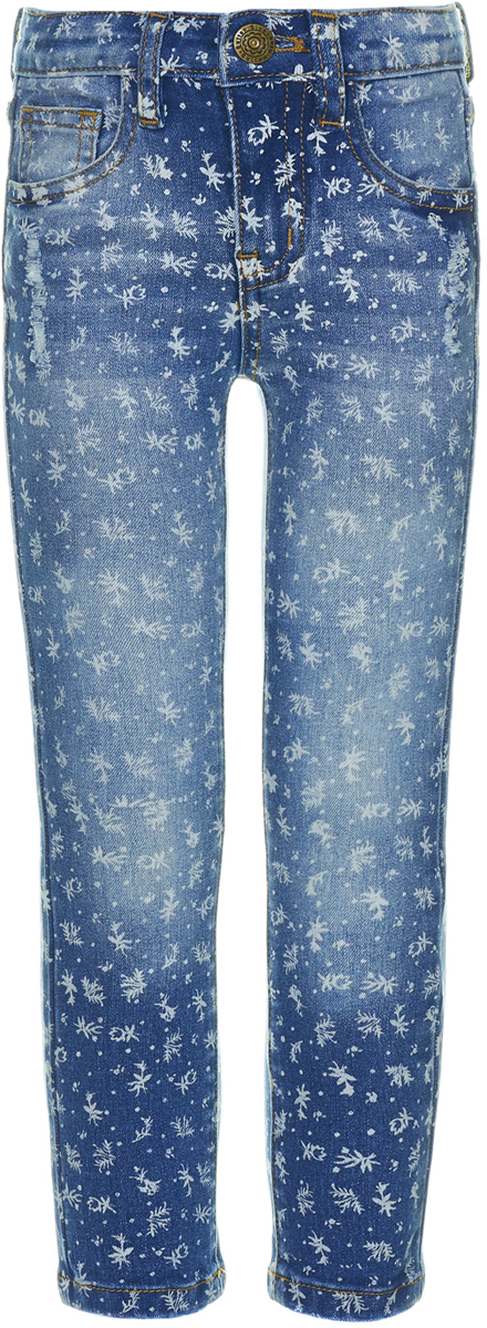 Джинсы для девочки Button Blue, цвет: синий. 118BBGC6301D114. Размер 116118BBGC6301D114Модные и интересные джинсы для девочки Button Blue отличаются удобной прямой формой и орнаментом с полевыми цветами. Джинсы фасона Regular Fit отличаются классической формой, свободно сидят, при этом не являясь слишком широкими. Модель изготовлена из мягкого джинсового материала с эффектом потертостей и разрывов и застегивается на молнию и пуговицу в поясе, имеющем шлевки для ремня. Изделие представляет собой классическую пятикарманку: два втачных и накладной карманы спереди и два накладных кармана сзади. Джинсы с необычным принтом подчеркнут индивидуальность ребенка, его характер и уникальность.