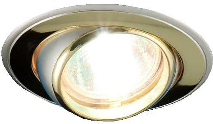 Светильник встраиваемый поворотный ITALMAC Nika 51 2 22, литой, комбинированный, MR16, цвет: золотистый, никель. IT8037 растровые встраиваемые светильники 3х14w встраиваемый 600х600