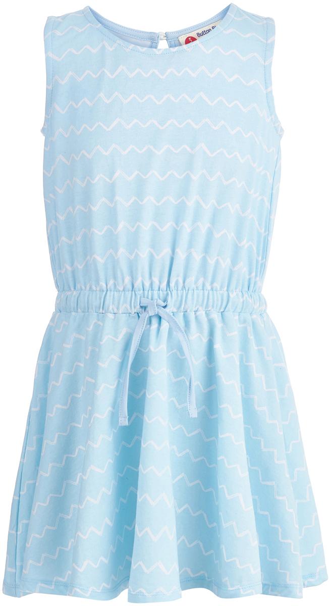 Платье для девочки Button Blue, цвет: голубой. 118BBGC50021813. Размер 116118BBGC50021813Легкое летнее платье - та вещь, без которой не обойдется ни один гардероб для девочки. Модель без рукавов и с круглым вырезом горловины на спинке застегивается на пуговицу. Платье изготовлено из хлопка и эластана, она прекрасно сидит по фигуре, имеет удобную свободную форму и модный дизайн.