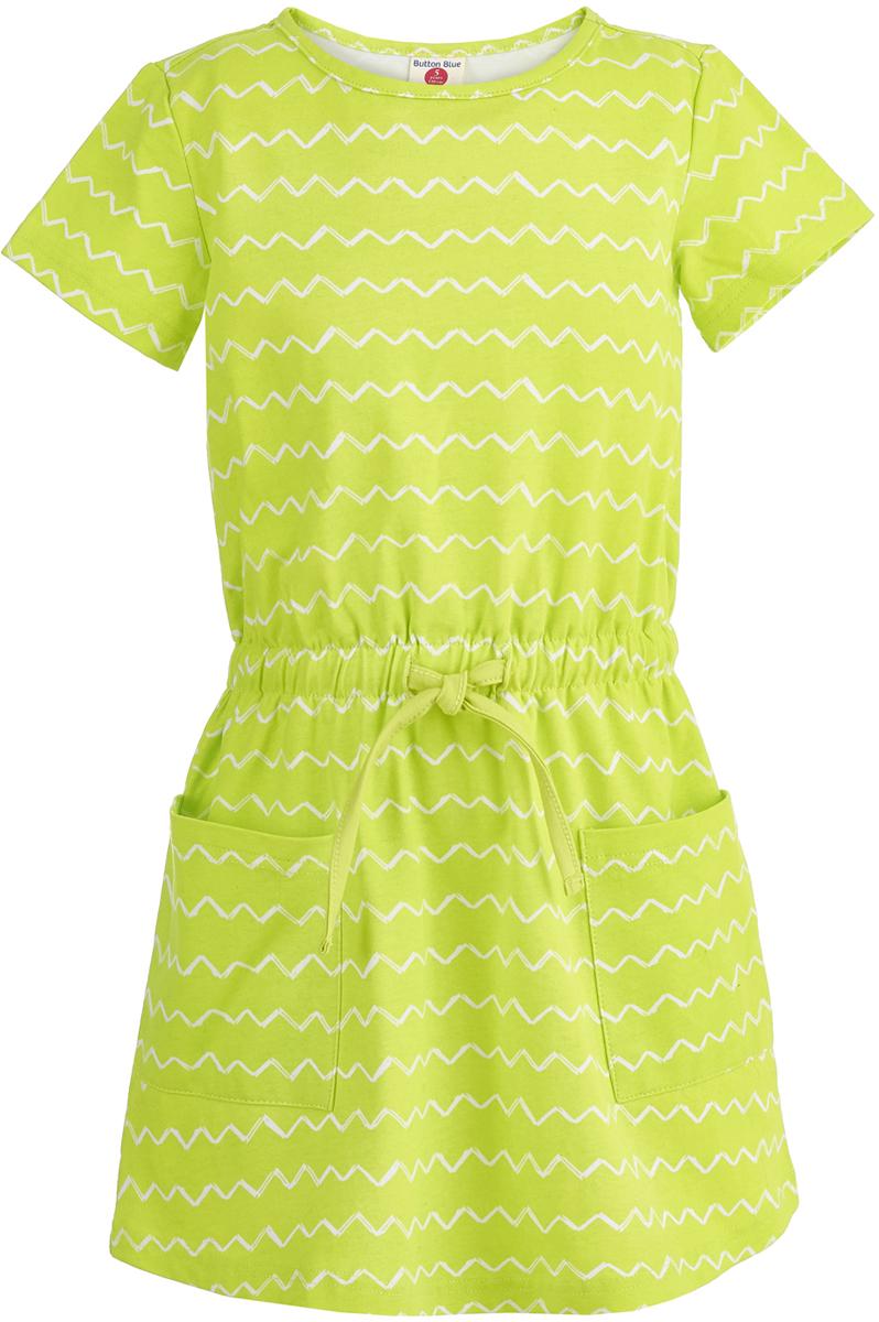 Платье для девочки Button Blue, цвет: салатовый. 118BBGC50012713. Размер 152 модное сексуальное backless шнурок вышитый крест ремень slim трубчатое платье венчания