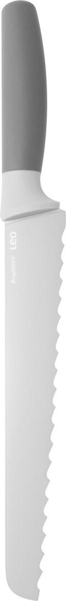 Нож для хлеба BergHOFF, цвет: серый, длина лезвия 23 см3950037Нож для хлеба BergHOFF изготовлен из нержавеющей стали. Мягкая ручка выполнена из полипропилена. Рекомендуется мыть вручную.