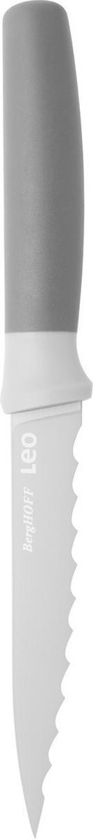 Нож универсальный BergHOFF, зазубренный, цвет: серый, длина лезвия 11,5 см3950045Нож универсальный BergHOFF, зазубренный изготовлен из нержавеющей стали. Мягкая ручка выполнена из полипропилена. Рекомендуется мыть вручную.