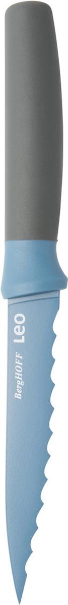 """Нож универсальный """"BergHOFF"""", зазубренный изготовлен из нержавеющей стали. Мягкая ручка выполнена из полипропилена. Рекомендуется мыть вручную."""