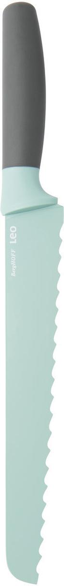 Нож для хлеба BergHOFF, цвет: мятный, длина лезвия 23 см3950115Нож для хлеба BergHOFF изготовлен из нержавеющей стали. Мягкая ручка выполнена из полипропилена. Рекомендуется мыть вручную.