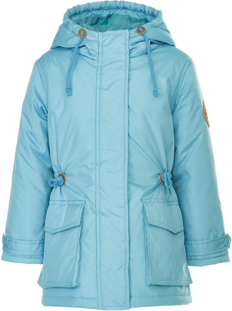 Пальто для девочки Button Blue, цвет: бирюзовый. 118BBGC46013300. Размер 104118BBGC46013300Пальто для девочки от Button Blue - идеальный вариант для тех, кому надоели тусклые краски зимы! Модель с длинными рукавами и капюшоном застегивается на молнию и имеет ветрозащитный клапан, по бокам дополнена объемными карманами. Пальто удобно сидит, оно свободно и комфортно. Дополнительное тепло дарит утеплитель из синтепона и подкладка из хлопка.