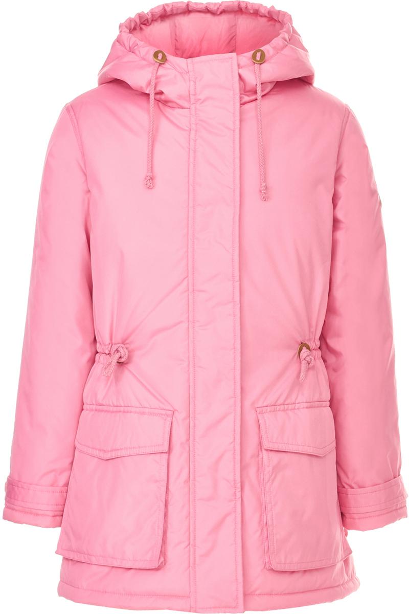 Пальто для девочки Button Blue, цвет: розовый. 118BBGC46011200. Размер 140118BBGC46011200Пальто для девочки от Button Blue - идеальный вариант для тех, кому надоели тусклые краски зимы! Модель с длинными рукавами и капюшоном застегивается на молнию и имеет ветрозащитный клапан, по бокам дополнена объемными карманами. Пальто удобно сидит, оно свободно и комфортно. Дополнительное тепло дарит утеплитель из синтепона и подкладка из хлопка.