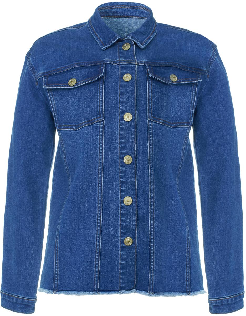 Куртка джинсовая для девочки Button Blue, цвет: синий. 118BBGC4001D100. Размер 152118BBGC4001D100Джинсовая куртка Button Blue - удобная и практичная одежда, которая разнообразит гардероб каждой модницы! Модель прямого кроя изготовлена из эластичной джинсовой ткани и застегивается на пуговицы. Изделие дополнено двумя накладными карманами с клапанами. На манжетах рукавов также расположены пуговицы. Джинсовая куртка для ребенка - прекрасная повседневная одежда, которая может послужить основой самых разнообразных образов: от более классических до неформальных.