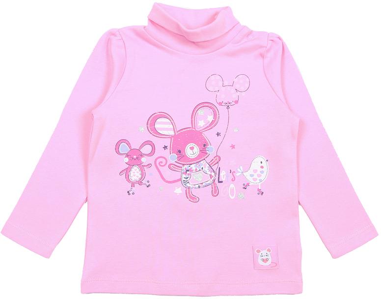 Водолазка для девочки Cherubino, цвет: розовый. CWB 61737 (166). Размер 80CWB 61737 (166)Водолазка для девочки выполнена из натурального хлопка. По плечу модель дополнена застежкой кнопкой. Перед водолазки декорирован принтом.