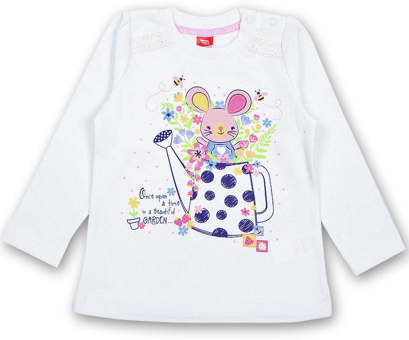 Футболка с длинным рукавом для девочки Cherubino, цвет: слоновая кость. CWB 61738 (166). Размер 80CWB 61738 (166)Футболка с длинным рукавом для девочки Cherubino выполнена из натурального хлопка. В плечевом шве обработана застежка на кнопки. Перед с кокетками. В шов притачивания кокеток вставлена ажурная хлопковая лента. Горловина обработана притачной планкой из рибаны с лайкрой. Перед декорирован принтом.