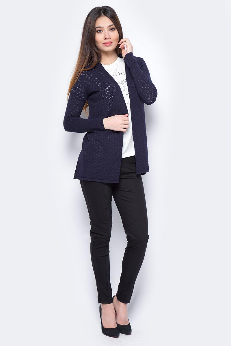 Жакет женский Sela, цвет: темно-синий. CN-114/701-8111. Размер M (46)CN-114/701-8111Удлиненный жакет от Sela выполнен из натурального хлопка. Модель прямого кроя, с длинными рукавами, без застежки.