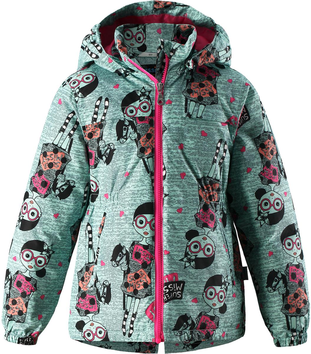 Куртка для девочки Lassie, цвет: зеленый. 721724R8731. Размер 134721724R8731Детская куртка Lassie идеально подойдет для ребенка в холодное время года. Куртка изготовлена из водоотталкивающей и ветрозащитной ткани. Материал отличается высокой устойчивостью к трению, благодаря специальной обработке полиуретаном поверхность изделия отталкивает грязь и воду, что облегчает поддержание аккуратного вида одежды, дышащее покрытие с изнаночной части не раздражает даже самую нежную и чувствительную кожу ребенка, обеспечивая ему наибольший комфорт. Куртка застегивается на пластиковую застежку-молнию с защитой подбородка, благодаря чему ее легко надевать и снимать. Края рукавов дополнены неширокими эластичными манжетами. Спереди куртка дополнена двумя прорезными кармашками. Также модель дополнена светоотражающими элементами для безопасности в темное время суток. Все швы проклеены, не пропускают влагу и ветер.