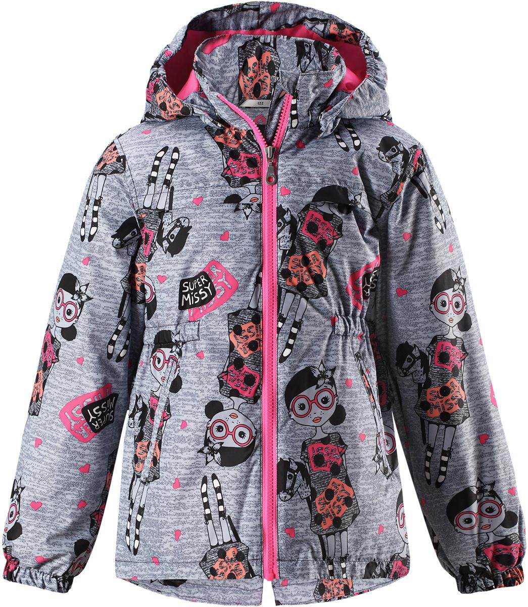 Куртка для девочки Lassie, цвет: серый. 721724R9121. Размер 104721724R9121Детская куртка Lassie идеально подойдет для ребенка в холодное время года. Куртка изготовлена из водоотталкивающей и ветрозащитной ткани. Материал отличается высокой устойчивостью к трению, благодаря специальной обработке полиуретаном поверхность изделия отталкивает грязь и воду, что облегчает поддержание аккуратного вида одежды, дышащее покрытие с изнаночной части не раздражает даже самую нежную и чувствительную кожу ребенка, обеспечивая ему наибольший комфорт. Куртка застегивается на пластиковую застежку-молнию с защитой подбородка, благодаря чему ее легко надевать и снимать. Края рукавов дополнены неширокими эластичными манжетами. Спереди куртка дополнена двумя прорезными кармашками. Также модель дополнена светоотражающими элементами для безопасности в темное время суток. Все швы проклеены, не пропускают влагу и ветер.