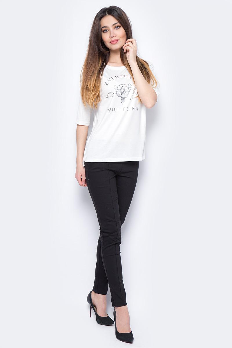 Джемпер женский Sela, цвет: слоновая кость. Ts-311/968-8111. Размер L (48)Ts-311/968-8111Стильный джемпер Sela изготовлен из полиэстера и вискозы. Модель имеет круглый вырез горловины и рукава 3/4.