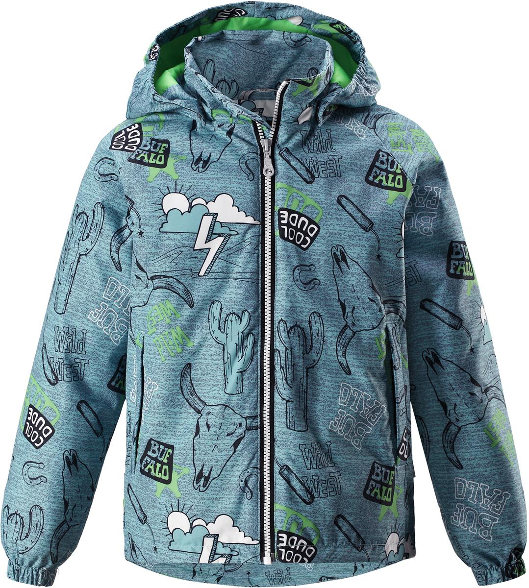 Куртка для мальчика Lassie, цвет: зеленый. 721725R8271. Размер 104721725R8271Детская куртка Lassie идеально подойдет для ребенка в холодное время года. Куртка изготовлена из водоотталкивающей и ветрозащитной ткани. Материал отличается высокой устойчивостью к трению, благодаря специальной обработке полиуретаном поверхность изделия отталкивает грязь и воду, что облегчает поддержание аккуратного вида одежды, дышащее покрытие с изнаночной части не раздражает даже самую нежную и чувствительную кожу ребенка, обеспечивая ему наибольший комфорт. Куртка застегивается на пластиковую застежку-молнию с защитой подбородка, благодаря чему ее легко надевать и снимать. Края рукавов дополнены неширокими эластичными манжетами. Также модель дополнена светоотражающими элементами для безопасности в темное время суток. Все швы проклеены, не пропускают влагу и ветер.