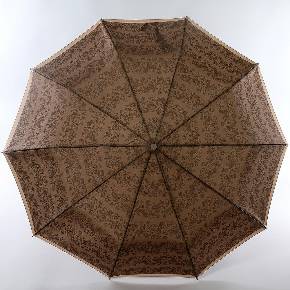 Зонт женский Zest, автомат, 3 сложения, цвет: темно-коричневый, карамель. 239666-068