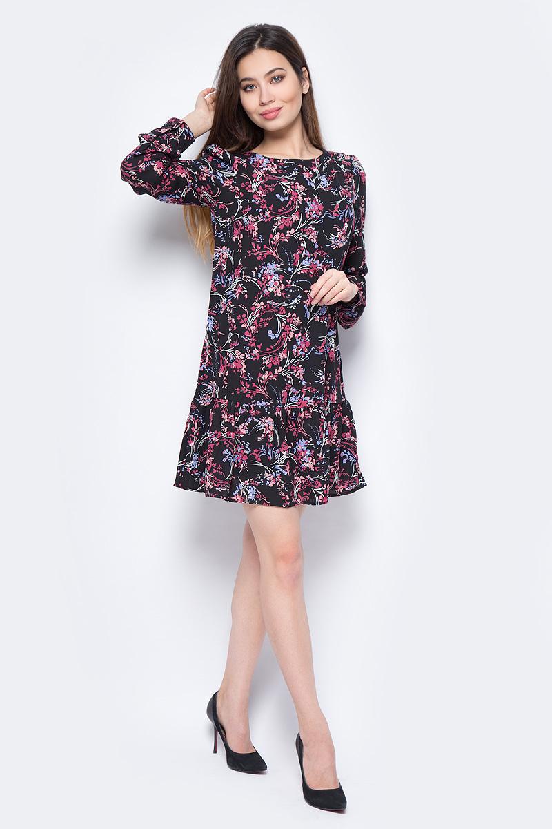 Платье Sela, цвет: черный. D-117/864-8131. Размер 42D-117/864-8131Красочное платье Sela выполнено из полиэстера. Модель с длинными рукавами и круглой горловиной. Изделие застегивается сзади по спинке на потайную молнию.