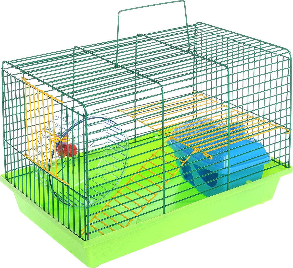 Клетка для грызунов  ЗооМарк , 2-этажная, цвет: салатовый поддон, зеленая решетка, 36 х 22 х 24 см - Клетки, вольеры, будки