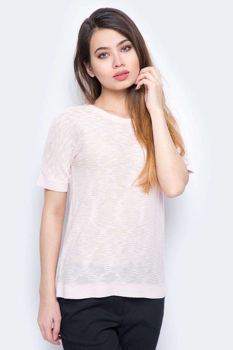 Джемпер женский Sela, цвет: розовый. JRs-114/700-8111. Размер L (48)JRs-114/700-8111Стильный джемпер Sela изготовлен из хлопка с добавлением полиэстера. Модель имеет круглый вырез горловины и короткие рукава. Джемпер выполнен в однотонном дизайне.
