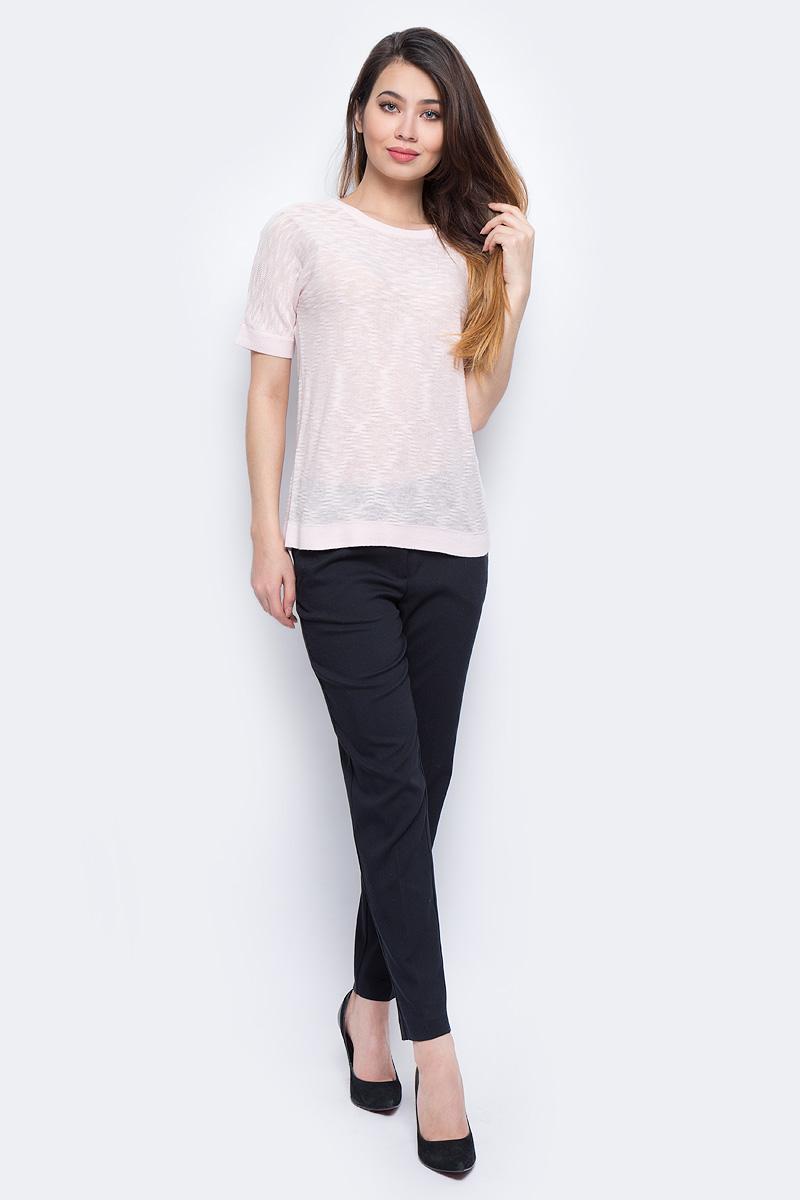 Джемпер женский Sela, цвет: розовый. JRs-114/700-8111. Размер S (44)JRs-114/700-8111Стильный джемпер Sela изготовлен из хлопка с добавлением полиэстера. Модель имеет круглый вырез горловины и короткие рукава. Джемпер выполнен в однотонном дизайне.