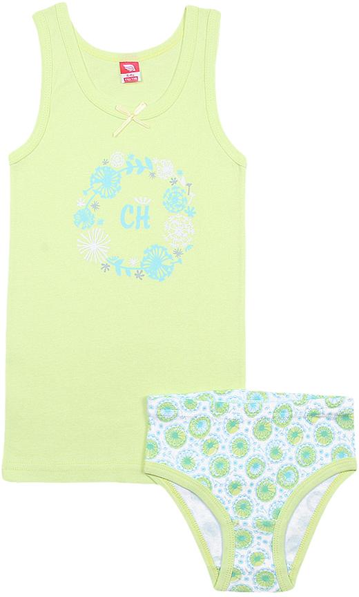 Комплект белья для девочки Cherubino: майка, трусы, цвет: салатовый. CAK 3435. Размер 122/128 цена