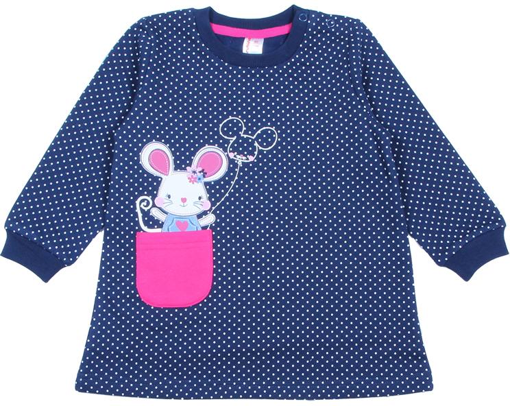 Платье для девочки Cherubino, цвет: темно-синий. CWB 61741 (166). Размер 80CWB 61741 (166)Теплое платье Cherubino, оформленное принтом в горошек с милой мышкой и контрастным накладным кармашком, станет идеальным дополнением к гардеробу юной модницы. Изделие изготовлено из футера с начесом, благодаря чему оно очень теплое, мягкое и приятное на ощупь, не раздражает нежную кожу ребенка и хорошо вентилируется. Круглый вырез горловины и манжеты обработаны кашкорсе с лайкрой. На плече предусмотрены кнопки для легкого переодевания ребенка.