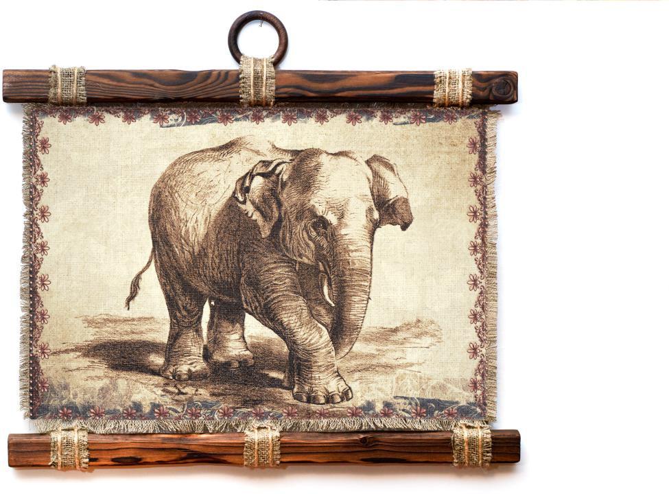 Украшение декоративное Универсальный cвиток Слон в орнаменте, подвесное, А41166-4-Г-Р
