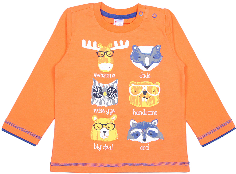 Лонгслив для мальчика Cherubino, цвет: оранжевый. CWB 61752. Размер 86CWB 61752Яркий лонгслив Cherubino, оформленный принтом с животными и контрастной строчкой, станет идеальным дополнением к гардеробу вашего ребенка. Изделие изготовлено из кулирки, благодаря чему оно очень мягкое и приятное на ощупь, не раздражает нежную кожу ребенка и хорошо вентилируется. Круглый вырез горловины обработан притачной планкой из рибаны с лайкрой, низ рукавов дополнен декоративной планкой контрастного цвета. На плече предусмотрены кнопки для легкого переодевания ребенка.