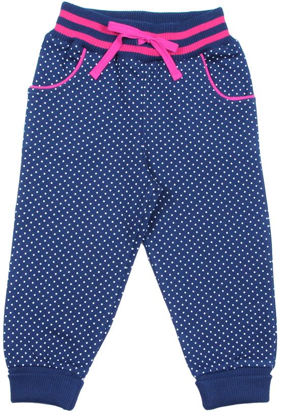 Брюки для девочки Cherubino, цвет: темно-синий. CWB 7640 (166). Размер 92CWB 7640 (166)Удобные теплые брюки для девочки Cherubino выполнены из футера с начесом и оформлены принтом в горошек. Модель выполнена в спортивном стиле и дополнена боковыми карманами. Брюки имеют эластичный притачной пояс на широкой резинке с контрастными полосками, дополнительно регулируемый шнурком, благодаря чему они не сдавливают животик ребенка и не сползают. Нижние срезы брюк обработаны манжетами из кашкорсе с лайкрой.