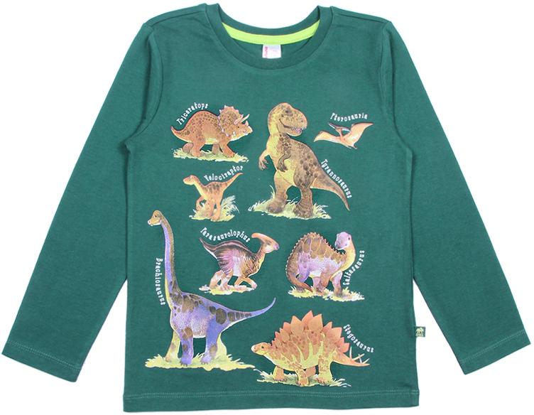 Лонгслив для мальчика Cherubino, цвет: темно-зеленый. CWK 61768 (169). Размер 116CWK 61768 (169)Яркий лонгслив Cherubino, оформленный принтом с динозаврами, станет идеальным дополнением к гардеробу вашего ребенка. Изделие изготовлено из кулирки, благодаря чему оно очень мягкое и приятное на ощупь, не раздражает нежную кожу ребенка и хорошо вентилируется. Круглый вырез горловины обработан притачной планкой из рибаны с лайкрой. На плече предусмотрены кнопки для легкого переодевания ребенка.