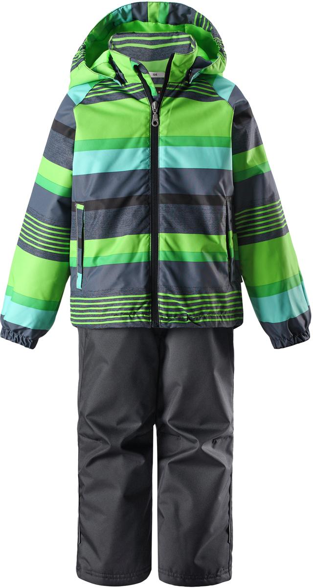 Комплект верхней одежды детский Lassie: куртка, брюки, цвет: зеленый. 723723R8272. Размер 98723723R8272Сверхпрочный детский комплект Lassie состоит из куртки и брюк. Функциональная куртка изготовлена из износостойкого, дышащего, водо- и ветронепроницаемого материала с водо- и грязеотталкивающей поверхностью. Все швы проклеены, водонепроницаемы. Съемный капюшон защищает от холодного ветра, а еще обеспечивает дополнительную безопасность во время игр на улице - поскольку он легко отстегнется, если случайно за что-нибудь зацепится. Комплект снабжен гладкой подкладкой из полиэстера и светоотражателями. Полная функциональность: от повседневного комфорта до экстремальных условий.