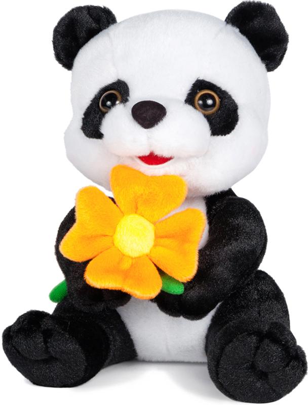 Maxitoys Мягкая озвученная игрушка Панда с цветочком 22 см, Maxi Toys