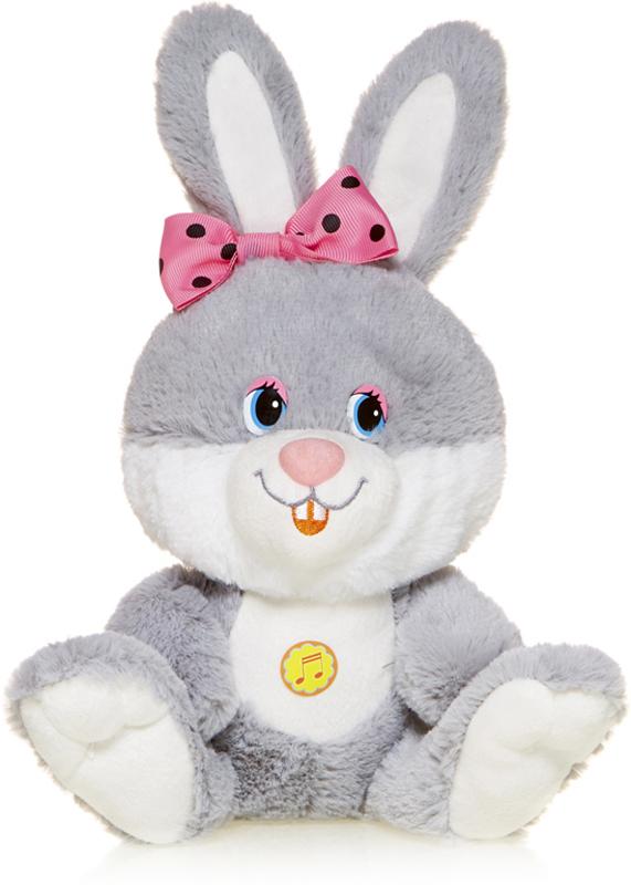 Maxitoys Мягкая озвученная игрушка Зайка Милашка с розовым бантиком 21 см maxitoys подушка с ручками