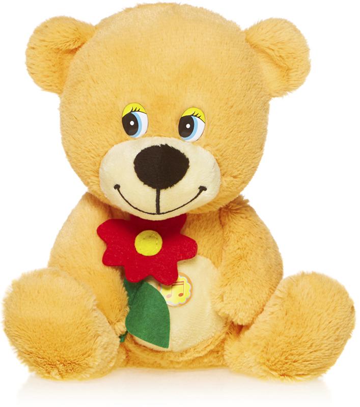 Maxitoys Мягкая озвученная игрушка Мишутка с цветочком 20 см пока ты не спишь