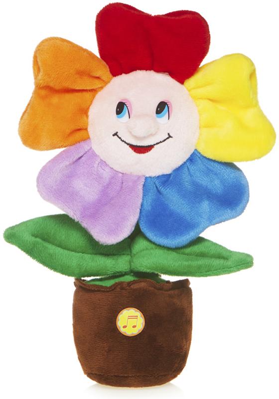 Maxitoys Мягкая озвученная игрушка Веселый Цветочек в горшочке 25 см