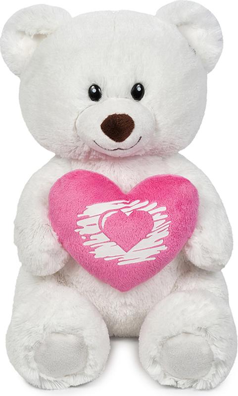 Maxitoys Мягкая игрушка Мишка Белый с сердцем 30 см maxitoys подушка с ручками