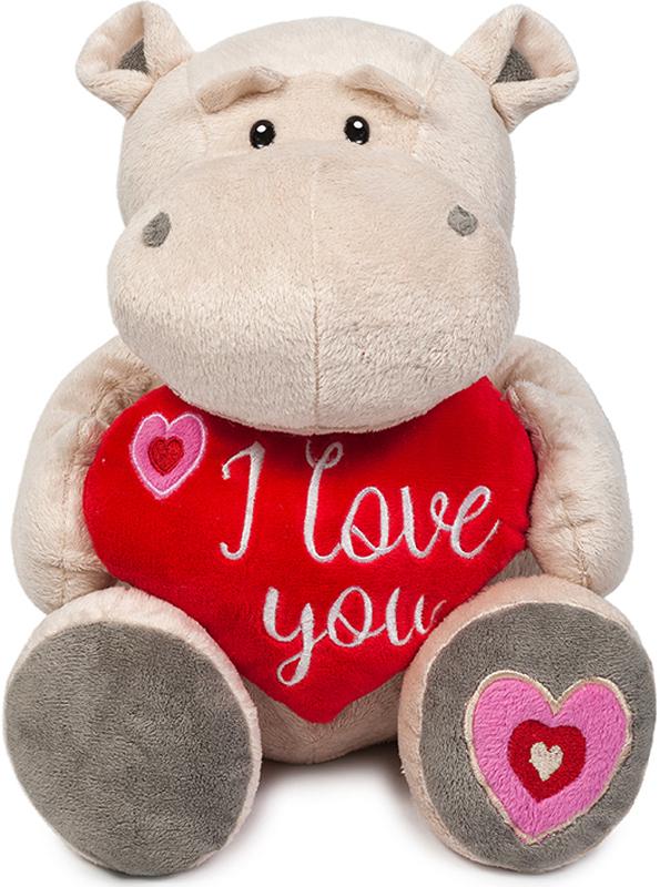 Maxitoys Мягкая игрушка Бегемот Боня с красным сердцем 30 см maxitoys подушка с ручками