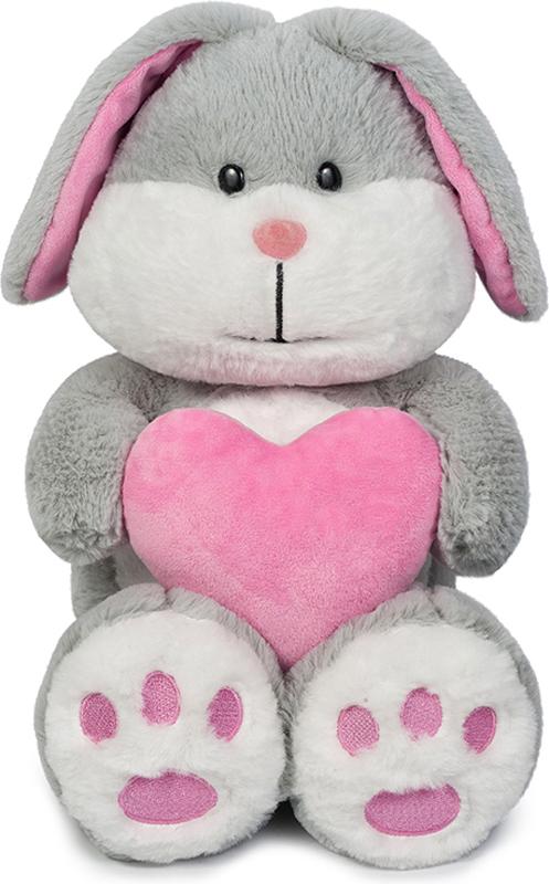 Maxitoys Мягкая игрушка Зайка Серый с сердцем 23 см малышарики мягкая игрушка собака бассет хаунд 23 см
