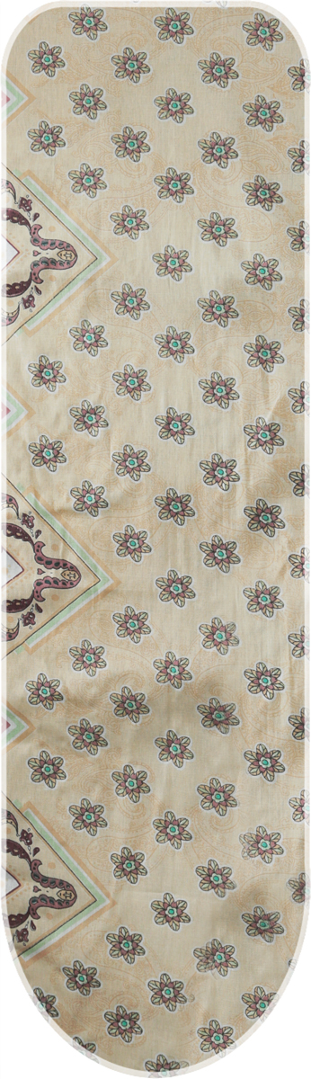 """Чехол для гладильной доски Eva """"Цветы"""" выполнен из хлопчатобумажной ткани с поролоновой  подкладкой.  Чехол предназначен для защиты или замены изношенного покрытия гладильной доски.  Благодаря удобной системе фиксации легко крепится.  Этот качественный чехол обеспечит вам легкое глажение.  Размер чехла: 125 х 47 см."""