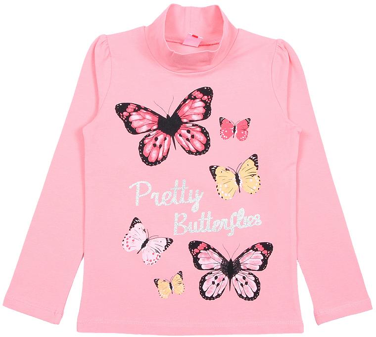 Водолазка для девочки Cherubino, цвет: персиковый. CWK 61755 (168). Размер 116CWK 61755 (168)Яркая водолазка Cherubino, оформленная контрастным принтом с бабочками и глиттерной надписью, станет идеальным дополнением к гардеробу юной модницы. Изделие изготовлено из эластичной кулирки, благодаря чему оно очень мягкое и приятное на ощупь, не раздражает нежную кожу ребенка и хорошо вентилируется. Длинные рукава выполнены со сборкой по окату в области плечевого шва.