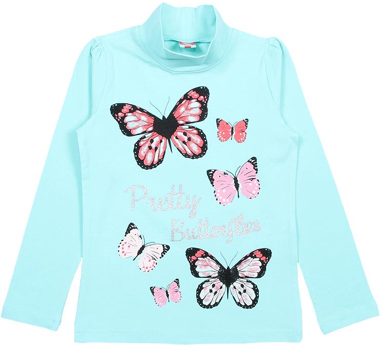 Водолазка для девочки Cherubino, цвет: бирюзовый. CWK 61755 (168). Размер 122CWK 61755 (168)Яркая водолазка Cherubino, оформленная контрастным принтом с бабочками и глиттерной надписью, станет идеальным дополнением к гардеробу юной модницы. Изделие изготовлено из эластичной кулирки, благодаря чему оно очень мягкое и приятное на ощупь, не раздражает нежную кожу ребенка и хорошо вентилируется. Длинные рукава выполнены со сборкой по окату в области плечевого шва.