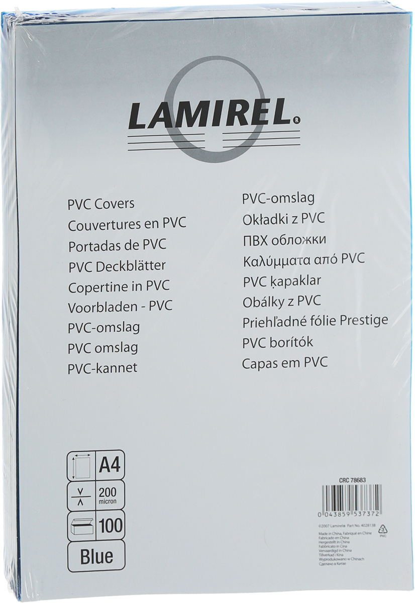 Lamirel LA-78683 Transparent A4, Blue обложка для переплета (100 шт)LA-78683ПВХ обложка Lamirel предназначена для переплета документов формата А4 напластиковую или металлическую пружину. Обложка изготовлена из ПВХ, чтообеспечивает стандартную защиту документа от загрязнений и потертости. Идеально подходит для оформления титульного листа. Прозрачная обложка стонированием позволяет видеть название брошюры и всю необходимуюинформацию на первой странице. Различные цвета тонировки помогаютвизуально различать назначение документа. Это может быть разделение поотделам, сферам применения, месяцу или году создания и т.п. ПВХ обложки Lamirel поставляется в упаковке по 100 шт. с фирменным цветнымвкладышем. Уважаемые клиенты! Обращаем ваше внимание на то,что упаковка может иметь несколько видов дизайна.Поставка осуществляется в зависимости от наличия наскладе.