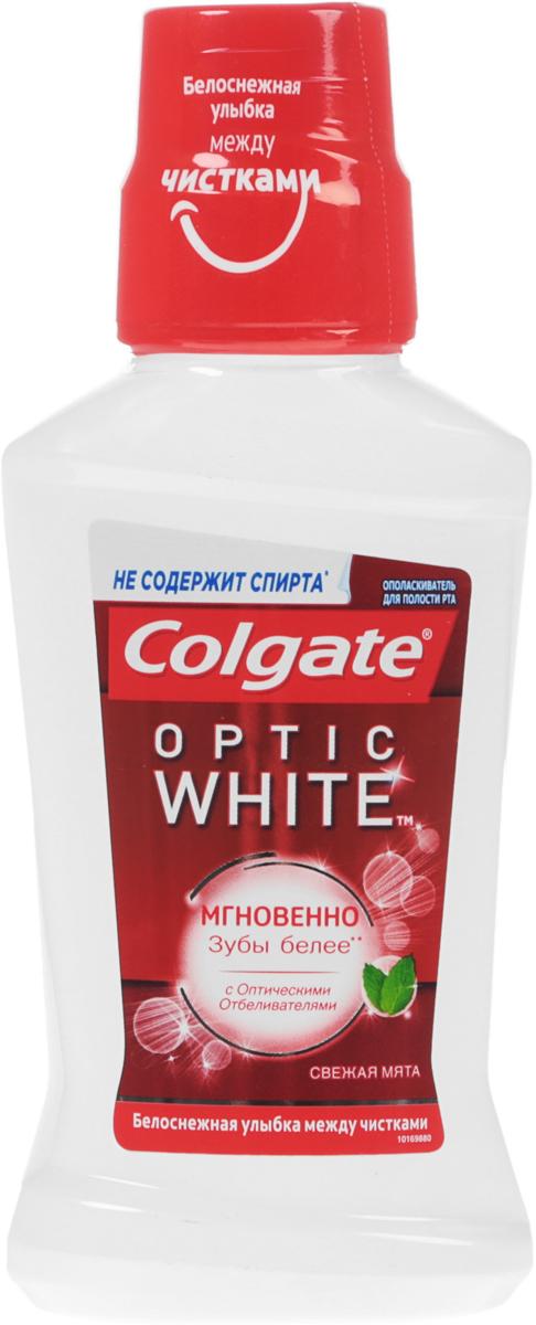 Colgate Ополаскиватель для полости рта Optic White, отбеливающий, 250 мл r o c s ополаскиватель для полости рта грейпфрут 400 мл