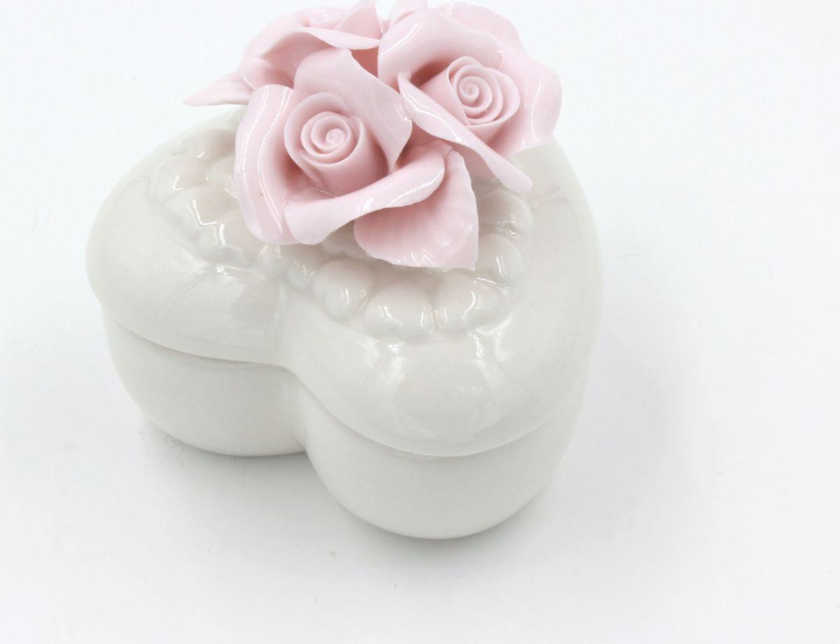 Шкатулка Magic Home, фарфоровая, цвет: белый, розовый. 76807 шкатулки magic home шкатулка дождь в париже