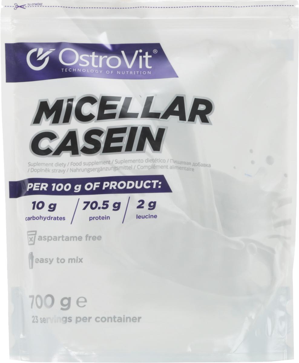 Казеин OstroVit Micellar Casein, клубника, 700 г5902232610468Препарат содержит медленный протеин, извлекаемый из молока методом ультра- и микрофильтрации, мицеллярный казеин. Протеиновая добавка на основе мицеллярного казеина является отличным источником белка животного происхождения, отличающегося от растительных белков значительно большей биоценностью. Мицеллярный казеин хорошо усваивается, не вызывает расстройство органов пищеварения, содержит значительное количество аминокислот с разветвлёнными боковыми цепочками (ВСАА). Вследствие того, что усваивание мицеллярного казеина протекает дольше, чем других протеинов, препараты на его основе предназначены для приема на ночь перед сном. Дозировка и применение. Для приготовления одной порции смешать 30 г препарата (1,5 мерной ложечки / 3 столовых ложки) в шейкере или блендере с 200-250 мл воды или обезжиренного молока. Принимать перед сном.Расфасовка, масса нетто 700 г.Количество порций в упаковке: 23.Уважаемые клиенты! Обращаем ваше внимание на то, что упаковка может иметь несколько видов дизайна. Поставка осуществляется в зависимости от наличия на складе.Как повысить эффективность тренировок с помощью спортивного питания? Статья OZON Гид