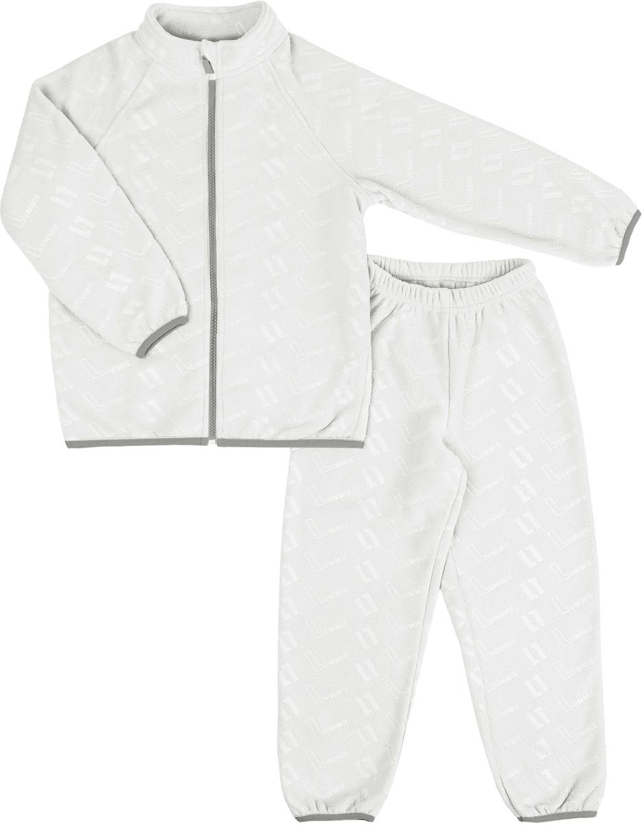 Комплект флисовый детский Lummie: куртка, брюки, цвет: белый. WL-20 L_white. Размер 104, 4 годаWL-20 L_whiteДетский флисовый костюм Lummie состоит из куртки и брюк. Куртка имеет воротник-стойку, длинные рукава-реглан, застегивается на молнию. Брюки с эластичной резинкой на талии комфортны и не сковывают движений.