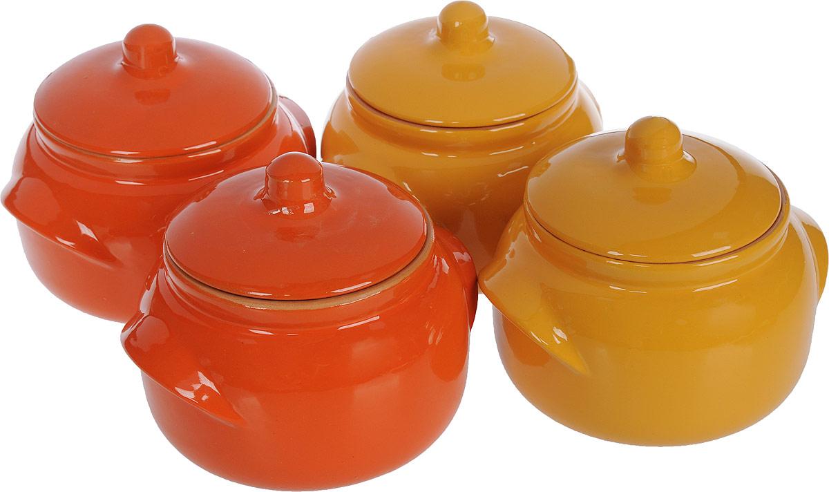 Набор горшочков для запекания Борисовская керамика Новарусса, цвет: желтый, оранжевый, 500 мл, 4 шт fusionbrands набор для запекания foodloop