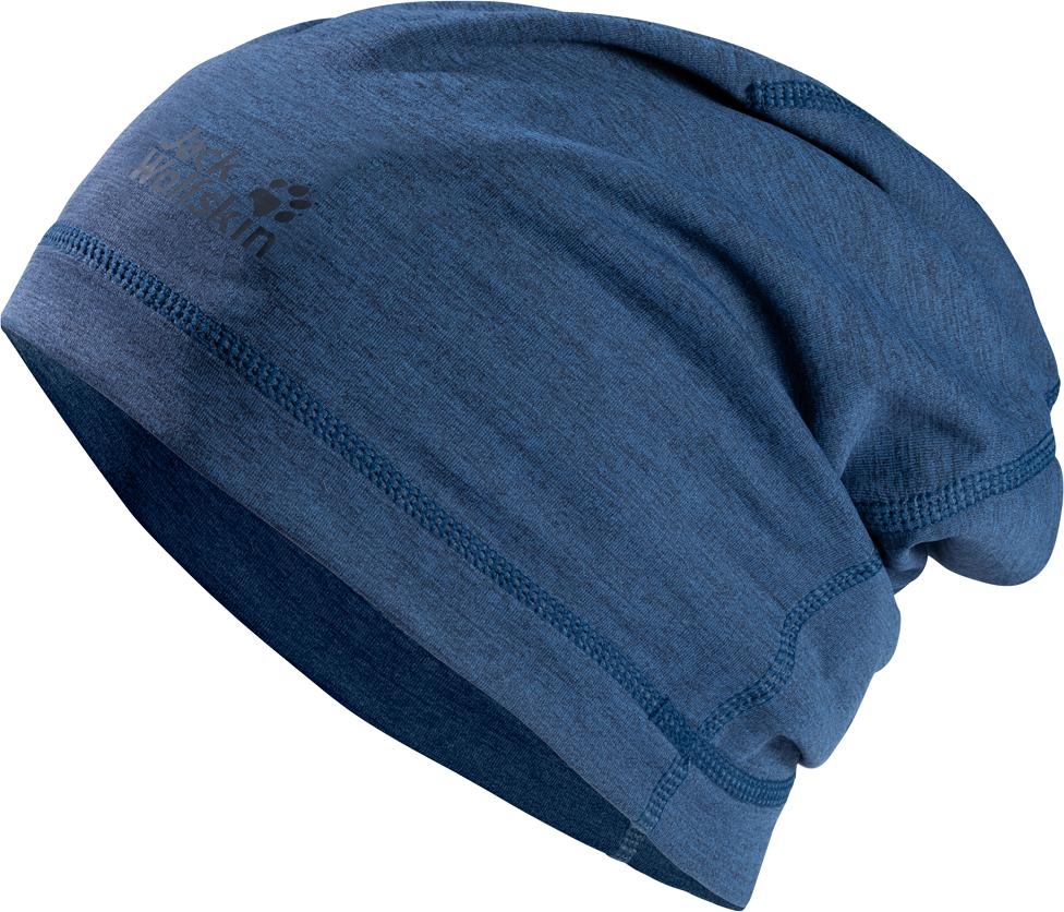 Шапка Jack Wolfskin Hydropore Beanie, цвет: синий. 1906272-1588. Размер M (54/57)1906272-1588Простая, легкая и невероятно функциональная. На лыжной трассе, во время прогулки на лыжах или пробежки по лесной тропе, шапка HYDROPORE BEANIE (ХАЙДРОПОР БИНИ) сочетает в себе функциональность и компактность, отвечая всем необходимым требованиям. Вы можете положить ее в карман куртки и надеть, когда она вам понадобится, даже под велосипедный шлем. Эта круглая шапочка выполнена из нашего высокотехнологичного эластичного материала HYDROPORE (ХАЙДРОПОР) с выдающимися влагоотводящими свойствами, который позволяет чувствовать сухость и комфорт, даже если вы сильно вспотеете. Преимуществом ткани также является высокий коэффициент защиты отУФ-излучения и специальная функция защиты от неприятных запахов.